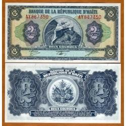 HAITI 2 GOURDES 1979 FORTALEZA SOBRE MONTAÑA Pick 245A BILLETE SC Republique D'Haiti UNC BANKNOTE