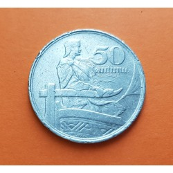 LETONIA 50 SANTIMU 1922 DAMA AL TIMON DE UN BARCO KM.6 MONEDA DE NICKEL MBC @MUESCAS - ESCASA@ Letland Latvia Latvijas coin
