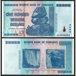 @MUY RARO@ ZIMBABWE 100000000000000 DOLARES 2008 HIPER INFLACION Pick 95 BILLETE SC 100 Trillion Dollars UNC BANKNOTE