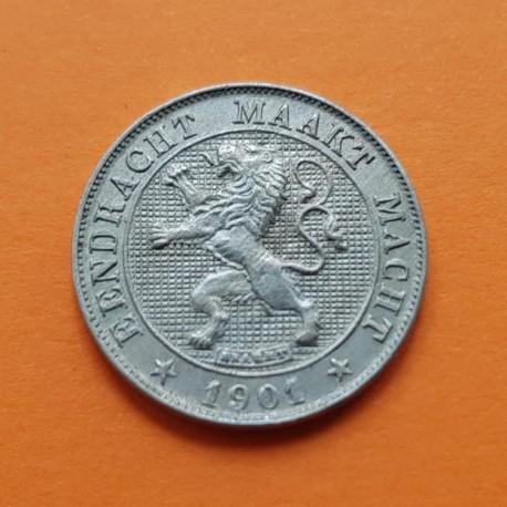 BELGICA 5 CENTIMOS 1901 LEON Leyenda DER BELGEN BELGIQUE KM.45 MONEDA DE NICKEL EBC @RARA@ Belgium 5 Centimes Centiemen