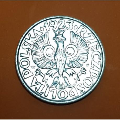 POLONIA 20 GROSZY 1923 Letras W+J AGUILA y VALOR KM.12 MONEDA DE NICKEL SC Poland WWI