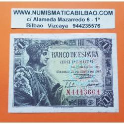ESPAÑA 1 PESETA 1943 REY FERNANDO EL CATOLICO RARA Serie N 4443664 Pick 126 BILLETE SC @DOBLEZ y PUNTITOS@
