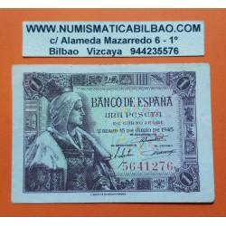 ESPAÑA 1 PESETA 1945 REINA ISABEL LA CATOLICA SIN SERIE 5641276 Pick 128 BILLETE MBC @RARO@ Spain