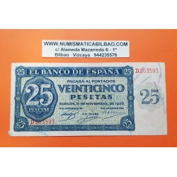 25 PESETAS 1936 NOVIEMBRE 21 BURGOS Serie G SC ESPAÑA
