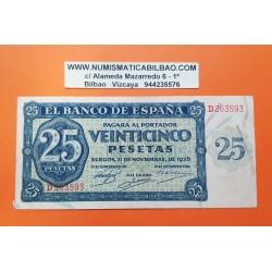ESPAÑA 25 PESETAS 1936 BURGOS Serie D 263593 Pick 99A BILLETE EBC- Spain banknote