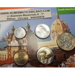 5 monedas x COLOMBIA 50+100+200+500+1000 PESOS 2017+2018 LORO, RANA, TORTUGA... SC