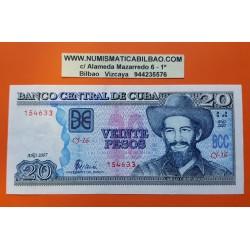 20 PESOS 2007 CAMILO CIENFUEGOS y TRACTORES DEL DESARROLLO AGRICOLA Pick 122 BILLETE MBC imperfeccciones