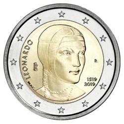 ITALIA 2 EUROS 2019 LEONARDO DA VINCI 500 AÑOS DE SU MUERTE SC 1ª MONEDA CONMEMORATIVA Italy euro coin