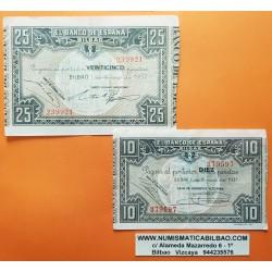 2 billetes x BILBAO 10 PESETAS 1937 CAJA DE AHORROS VIZCAINA + 25 PESETAS 1937 BANCO HISPANO AMERICANO Pick S.562+563 Euzkadi