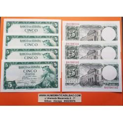7 billetes x ESPAÑA 5 PESETAS 1954 REY ALFONSO X EL SABIO Serie H Pick 146 CASI SIN CIRCULAR SC- Spain