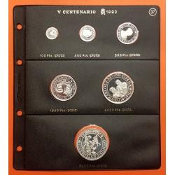 6 monedas de PLATA x ESPAÑA 100+200+500+1000+2000+5000 PESETAS 1990 PROOF V CENTENARIO Serie 2ª + HOJA PARDO