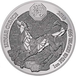 @1 ONZA 2018@ RUANDA 50 FRANCOS 2018 AÑO LUNAR DEL PERRO MONEDA DE PLATA SC silver LUNAR OUNCE Rwanda 50 Francs Dog @RARA@