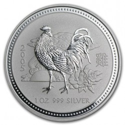 AUSTRALIA 1 DOLAR 2005 AÑO DEL GALLO 1ª SERIE LUNAR MONEDA DE PLATA $1 dollar silver 1 ONZA OZ OUNCE YEAR OF THE ROOSTER