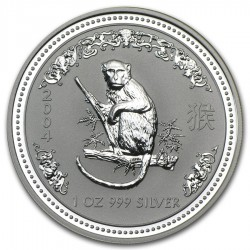 AUSTRALIA 1 DOLAR 2004 AÑO DEL MONO 1ª SERIE LUNAR MONEDA DE PLATA $1 dollar silver 1 ONZA OZ OUNCE YEAR OF THE MONKEY