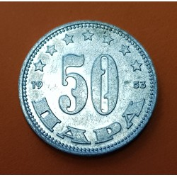 YUGOSLAVIA 50 PARA 1953 ESCUDO y VALOR Régimen Comunista KM.29 MONEDA DE ALUMINIO SC