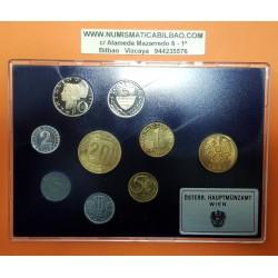 9 monedas x AUSTRIA ESTUCHE PROOF 1981 Ceca de VIENA ECA DE VIENA 2+5+10+50 GROSCHEN y 1+5+10+20 SHILLINGS