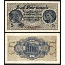 ALEMANIA 5 MARCOS 1940 SOLDADOS y MONUMENTO Pick 138B BILLETE NAZI SC Germany WWII 5 Reichsmark 1940 1945