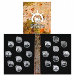 20 monedas x 1,50 EUROS 2018 + 2019 HISTORIA DE LA NAVEGACION regalo de ALBUM FNMT para alojarlas NICKEL A COLOR España