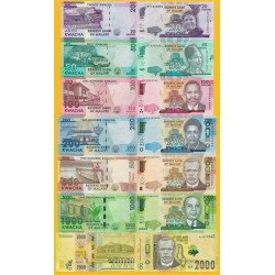 7 billetes x MALAWI 20+50+100+200+500+1000+2000 KWACHA 2014/2018 PERSONAJES SC Africa UNC BANKNOTE
