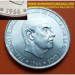 @PALO RECTO@ ESPAÑA 100 PESETAS 1966 * 19 69 FRANCISCO FRANCO MONEDA DE PLATA SIN CIRCULAR @RARA@ 100% AUTENTICA y ORIGINAL