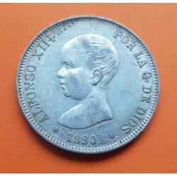 ESPAÑA 5 PESETAS 1890 * 18 90 PGM REY ALFONSO XIII KM.689 MONEDA DE PLATA (DURO) Spain silver 1