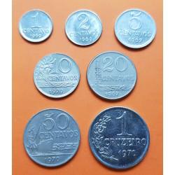 7 monedas x BRASIL 1+2+5+10+20+50 CENTAVOS y 1 CRUZEIRO 1967 a 1970 DAMA y VALOR NICKEL y ACERO SC- Brazil coin set