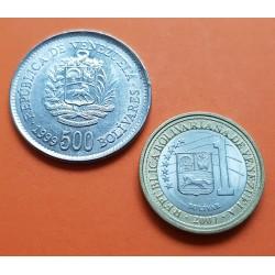 2 monedas x VENEZUELA 1 BOLIVAR 2007 KM.93 BIMETALICA SC- + 500 BOLIVARES 1999 NICKEL KM.79 SC-