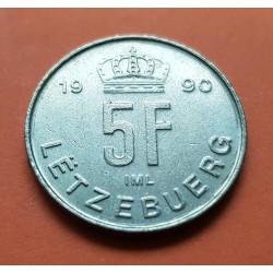 LUXEMBURGO 5 FRANCOS 1990 DUQUE JEAN KM.65 MONEDA DE LATON SC- Luxembourg 5 Francs
