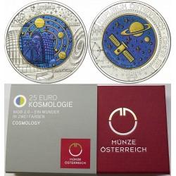 AUSTRIA 25 EUROS 2015 COSMOLOGIA MONEDA DE PLATA y NIOBIO ESTUCHE OFICIAL Österreich Niob & Silver coin KOSMOLOGIE