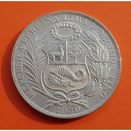 PERU 1 SOL 1930 Ceca de Lima DAMA SENTADA KM.218.2 MONEDA DE PLATA EBC República Peruana