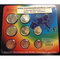 ESPAÑA CARTERA FNMT EURO 2004 BU SET KMS EURO 1+2+5+10+20+50 Centimos 1+2 EUROS 2004 REY JUAN CARLOS I