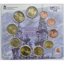 @RARA@ ESPAÑA CARTERA FNMT EUROS BERLIN WORLD MONEY FAIR 2018 BU SET KMS Tirada 2000 uds 2 EUROS SANTIAGO y ANIVERSARIO