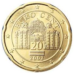 AUSTRIA 20 CENTIMOS 2009 PUERTA DE PALACIO MONEDA DE LATON SC Osterreich Euro coin Cts