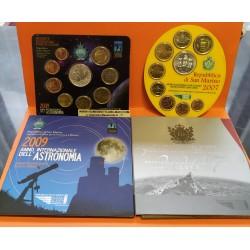 18 monedas x SAN MARINO CARTERA OFICIAL EUROS 2007 + 2009 SET KMS 1+2+5+10+20+50 CENTIMOS 1 EURO + 2 EUROS + 2x 5 EUROS PLATA