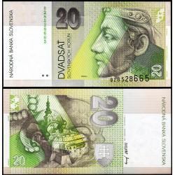 ESLOVAQUIA 20 KORUN 1993 REY PRIBINA Serie B Color Verde Pick 20A BILLETE SC Slovakia UNC BANKNOTE