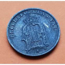 SUECIA 1 ORE 1897 VALOR y SIGLAS REALES REY OSCAR II MONEDA DE BRONCE MBC+ Sweden coin