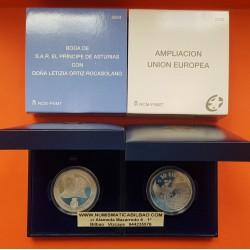 2 monedas x ESPAÑA 10 EUROS 2004 AMPLIACION DE LA UNION EUROPEA + BODA REAL PLATA ESTUCHE CERTIFICADO FNMT
