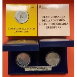 2 monedas x ESPAÑA 10 EUROS 2006 CAMPEONES DEL MUNDO BALONCESTO JAPON + ADHESION PLATA ESTUCHE CERTIFICADO FNMT