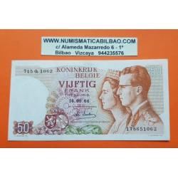 BELGICA 50 FRANCOS 1966 MONARCAS Firma 20 Pick 139 BILLETE EBC Belgium 50 Francs banknote PVP NUEVO 14€