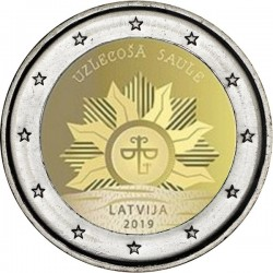 LETONIA 2 EUROS 2019 SOL NACIENTE SC MONEDA CONMEMORATIVA ***RARA*** Solo 307.000 uds Latvia Lettonia