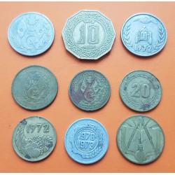 9 monedas x ARGELIA 5+20+50 CENTIMOS + 1 DINAR + 10 DINARES 1964 a 1979 LATON, NICKEL y ALUMINIO
