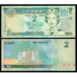 FIJI 2 DOLARES 2002 Reina ISABEL II y FAMILIA Pick 104A BILLETE SC Fidji 2 Dollars UNC BANKNOTE