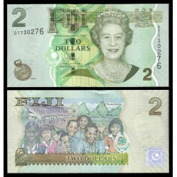 FIJI 2 DOLARES 2011 ISABEL II nuevo busto y NIÑOS Pick 109B BILLETE SC Fidji 2 Dollars UNC BANKNOTE