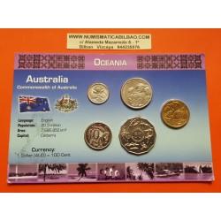 5 monedas x AUSTRALIA 5+10+20 Centavos + 1/2 DOLAR 2005 + 1 DOLAR 2006 ANIMALES y DEPORTES SC