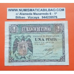 ESPAÑA 1 PESETA 1938 ABRIL 30 BURGOS AGUILA Color VERDE Serie L 7966911 Pick 108 BILLETE MBC- Spain banknote