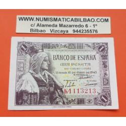 ESPAÑA 1 PESETA 1945 REINA ISABEL LA CATOLICA Escasa Serie K 1113213 Pick 128 BILLETE EBC- Spain banknote