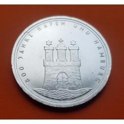 ALEMANIA 10 MARCOS 1989 J 800 AÑOS DE HAMBURGO KM.171 MONEDA DE PLATA EBC+Germany 10 Marks silver BRD