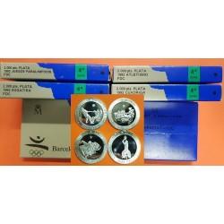4 monedas x 2000 PESETAS 1992 OLIMPIADA DE BARCELONA 4ª SERIE SOGATIRA ATLETISMO CUADRIGA PARALIMPICOS PLATA FDC ESTUCHE España