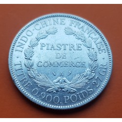 INDOCHINA 1 PIASTRA 1905 A DAMA KM.5A MONEDA DE PLATA MBC+ @RARA@ Indochine Francaise 1 Piastre de Commerce Comercio