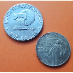 2 monedas x RUSIA 1 RUBLO 1967 VLADIMIR LENIN CCCP + ESTADOS UNIDOS 1 DOLAR 1976 EISENHOWER NICKEL MBC